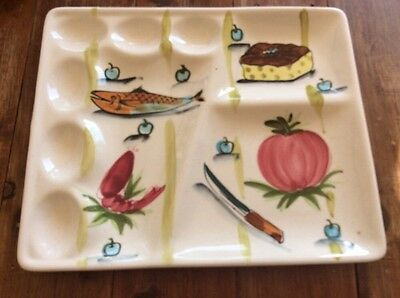 Used RETRO VINTAGE Serving Dish DevIlled Eggs PLATE Made In Japan Entree