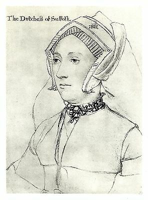 Catherine Brandon, Duchess of Suffolk - Lithograph after Hans Holbein - c1900