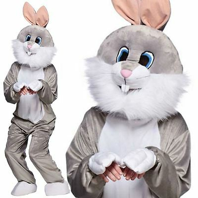 Mascot Easter Grey Bunny Rabbit Fancy Dress Mens Ladies Adult Costume Outfit
