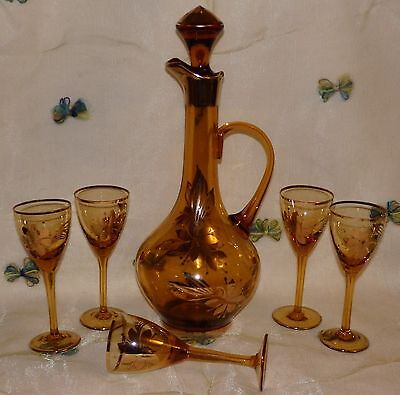Vintage  Amber Glass Gold Leaf WINE LIQUER DECANTER w/5 GLASSES ROUMANIA 1950'S