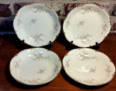 "Taylor Smith & Taylor 1689 Coupe Soup bowl set of 4, 7 3/8"", Pink, Gold"