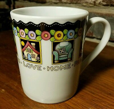 """Mary Engelbreit LOVE HOME FAMILY FRIEND Mug,  3 7/8"""", 2001, Cup, Excellent"""