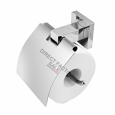 Toilet Paper Roll Holder Chrome Stainless Steel 304 Waterproof Cover Wall Mount