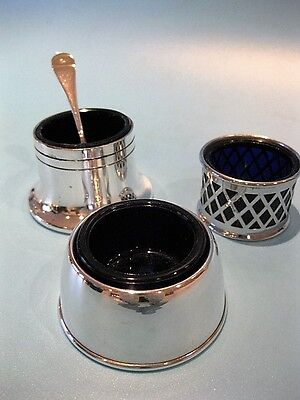 Nice Little Lot of 3 Vintage Silver Plated Open Cruets with Cobalt Blue Liners