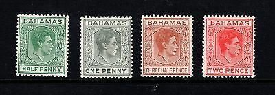 Bahamas: 1938-52 George VI part-set of 4 stamps - SG149-152b - LHM