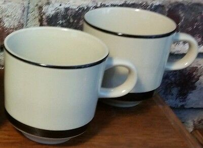 Sears STRAWBERRIES Cup set of 2, Stoneware pattern 4112, Red Yellow, Vintage