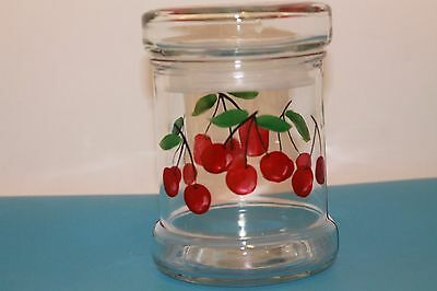 Glass jar/ canister, cherry design, with lid