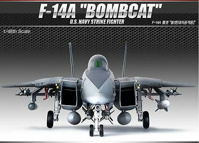 Academy 1/48 F-14A BOMBCAT USN Strike Fighter Aircraft Plastic Model Kit 12206