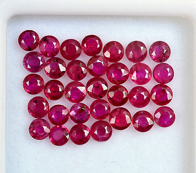 Natural Ruby Round Cut 2.50 mm 10 Pcs 0.91 Cts Reddish Shade Loose Gemstones