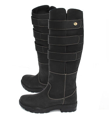Rhinegold Elite Colorado Country Boots - Black-Adjustable Calf -  Waxed Leather