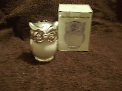 new boxed silver plated leonardo owl money box with cream enameled front