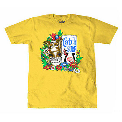 Catch Surf 'fast Times' Mens Short Sleeve Tee T-Shirt L Large Yellow Surf New