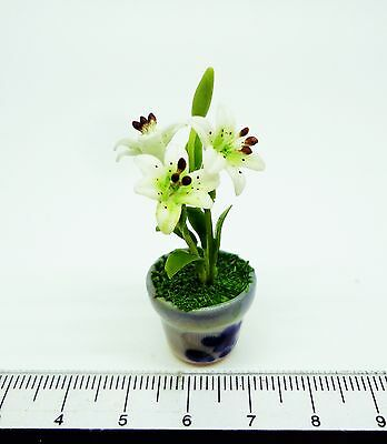 1:12 Scale White Lily Flowers In A Pot Doll House Miniatures Flowers Accessory