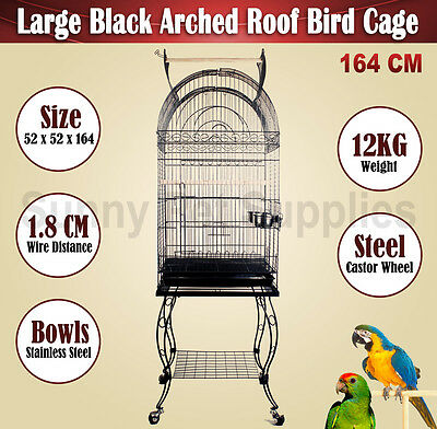 Large 164CM Black Arched Roof Pet Bird Parrot Canary Cage Stainless Castors BNE