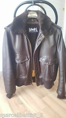 Original Vintage Schott Leather Jacket Size 48 Made in USA - Perfect condition