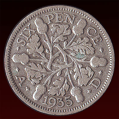 United Kingdom 1935 Sixpence Silver Coin King George V