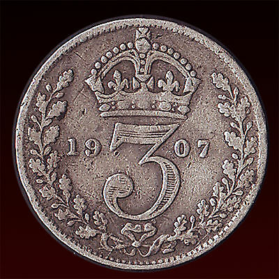 United Kingdom  1907 Threepence 3 Pence 3D Silver Coin King Edward