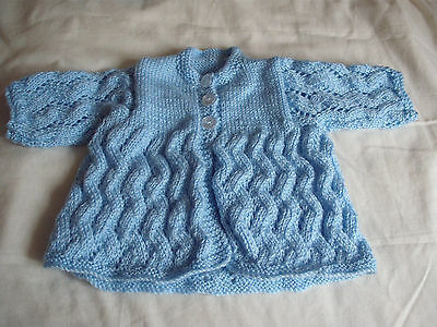 handknitted baby cardigan 0 - 3 months King Cole DK in blue