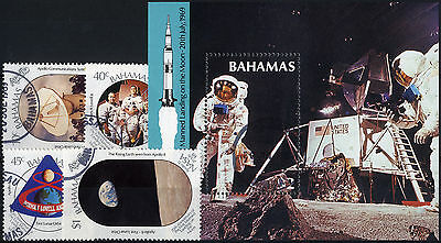 Bahamas SG 855 - MS859 1989 20th Anniv of First Manned Moon Landing set + MS. FU