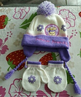 Girls hat and gloves set 0-9months