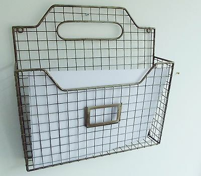 Vintage Industrial Style Wire Magazine Letter Newspaper Rack Wall Mounted Metal