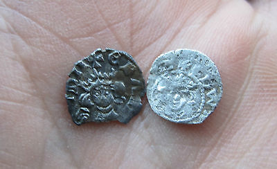 Two Edward I, Ii Hammered Silver Farthings