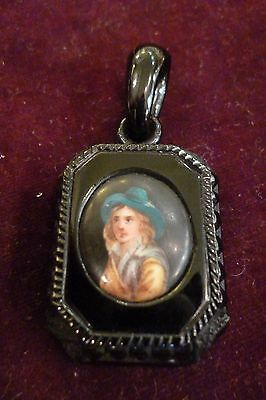 Victorian Whitby Jet Hand Carved and Painted Mourning Pendant with Portrait