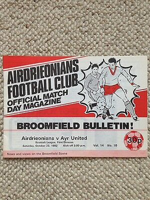 AIRDRIEONIANS v AYR UNITED Scottish League First Division 1982/83