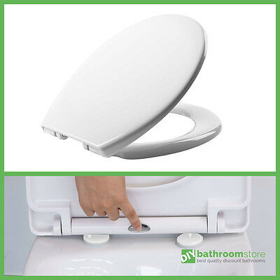 Luxury Quick Release Soft Close Heavy Duty White Toilet Seat Chrome Hinges Top