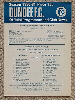 DUNDEE v BERWICK RANGERS Scottish First Division 1980/81