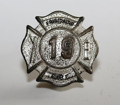 Number 19 ANTIQUE FRIGIDAIRE FACTORY FIRE DEPARTMENT SMALL BADGE