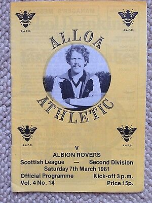 ALLOA ATHLETIC v ALBION ROVERS Scottish League Second Division 1980/81
