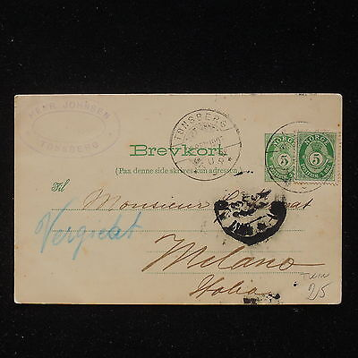 ZS-AA143 NORWAY - Postcard, From Tonsberg To Milan, Twin