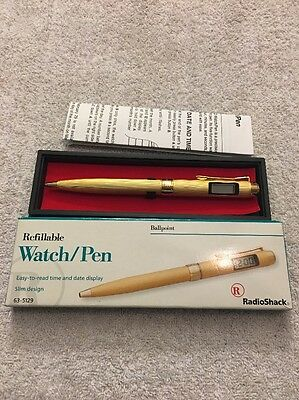 Vintage  RadioShack Refillable pen watch Ball Point 63-5129 Gold Color New