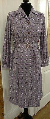 vintage 1980s does 1940s look style abstract floral tea day dress pickering