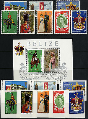 Belize - SG 495-502 - 1979 - 25th Anniv.of Coronation set of 8 plus extras - MNH