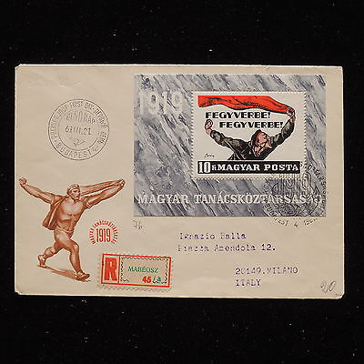ZS-AA924 HUNGARY - Fdc, 1921 From Mabeosz To Milan Italy Cover