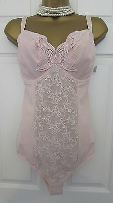 New Stretchy Pink Lacy Corselette Pantie Girdle Body Shaper 34DD by Together