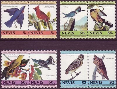 Nevis 1985 1st Audubon Birds Set of 8 in Se Tenant Pairs UM SG 269 to 276