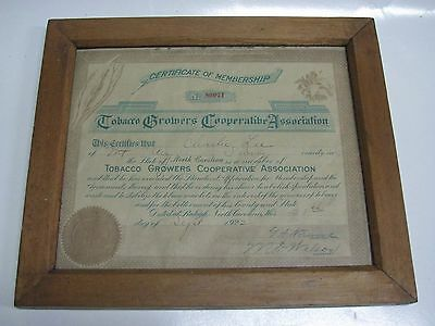 1922 Tobacco Growers Cooperative Association Certificate of Membership Framed