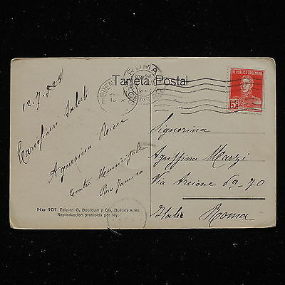 ZS-AB039 ARGENTINA - Postcard, 1925 From Buenos Aires To Rome Cover