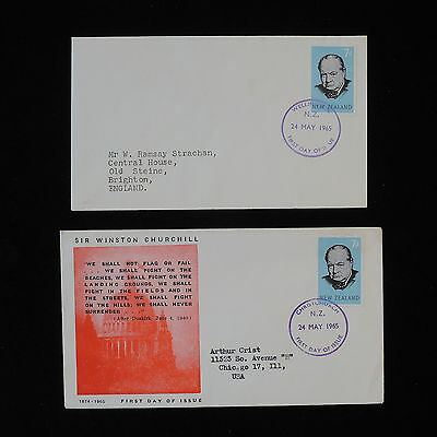 ZS-AB541 NEW ZEALAND - Churchill, 1965 Fdc, Death Of Churchill, Lot Of 2 Covers