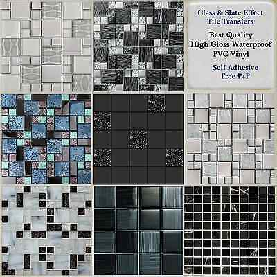 Black Grey Mosaic Tile Stickers Transfers Kitchen Bathroom Glass Marble Effect