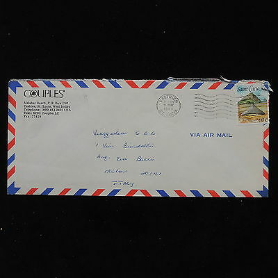 ZS-AB847 ST LUCIA IND - Airmail, 1988 From Castries To Milan Italy Cover