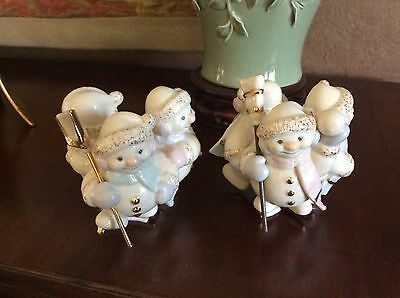 Lenox SNOWLIGHT SKATING BY CANDLELIGHT Snowmen Candle Holders EUC