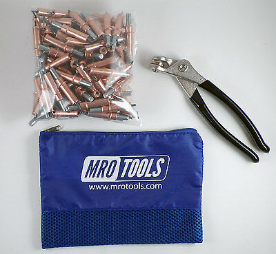 100 1/8 Cleco Sheet Metal Fasteners plus Cleco Pliers w/ Carry Bag (K1S100-1/8)