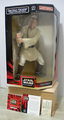 "Obi Wan Kenobi 13"" Mega Collectible Star Wars Episode 1 Action Figure COA - NIB"