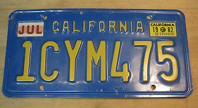 1982 California License Plate Expired 1 Cym 475