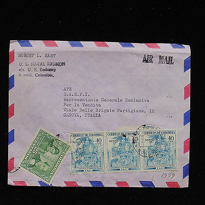 ZS-AC137 COLOMBIA - Airmail, 1959 From Us Embassy Bogota To Genoa Italy Cover