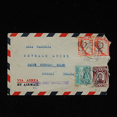 ZS-AC143 PERU - Airmail, 1948 From Juliaca To Santo Stefano Belbo Italy Cover
